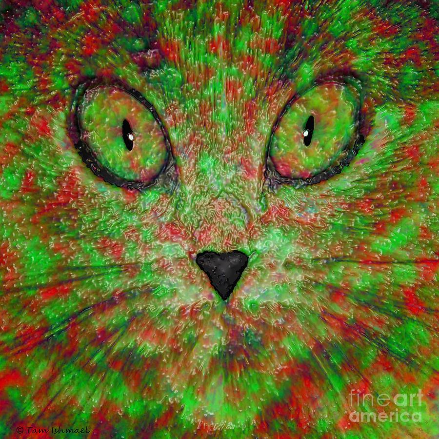 Psychedelic Digital Art - Psychedelic Cat by Tammy Ishmael - Eizman