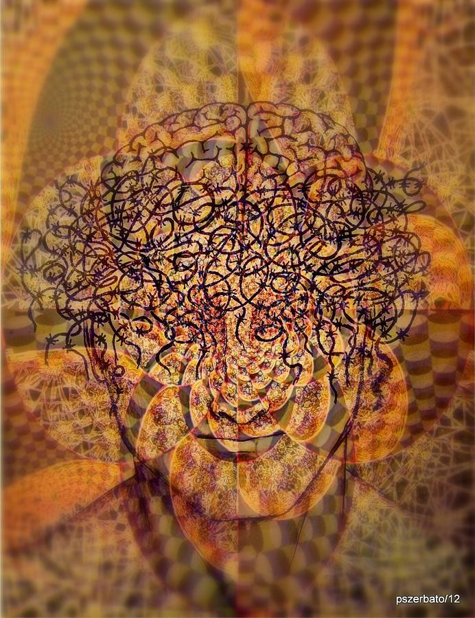 Psychedelic Digital Art - Psycho Traumatic Hypnotic by Paulo Zerbato