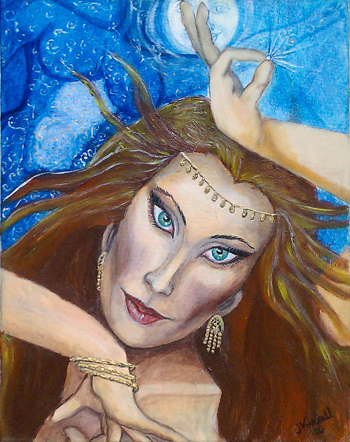 Belly Dancer Painting - Ptraci Dancing On The Disc by Janice T Keller-Kimball
