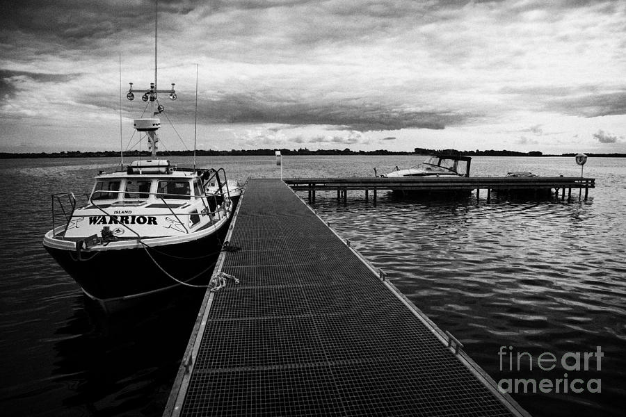Rams Photograph - Public Jetty And Island Warrior Ferry On Rams Island In Lough Neagh Northern Ireland  by Joe Fox