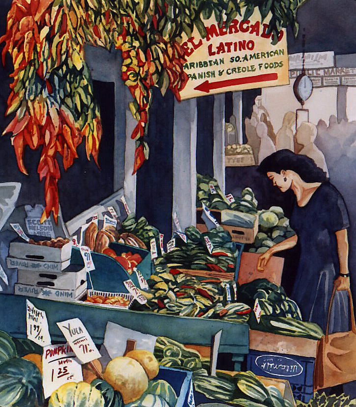 Seattle Painting - Public Market With Chilies by Scott Nelson