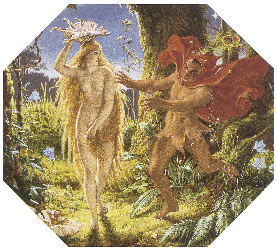 Puck Painting - Puck And The Fairy by Joseph Noel Paton