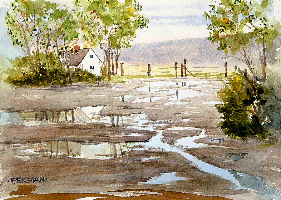 Landscape Painting - Puddles by Fred Ekman