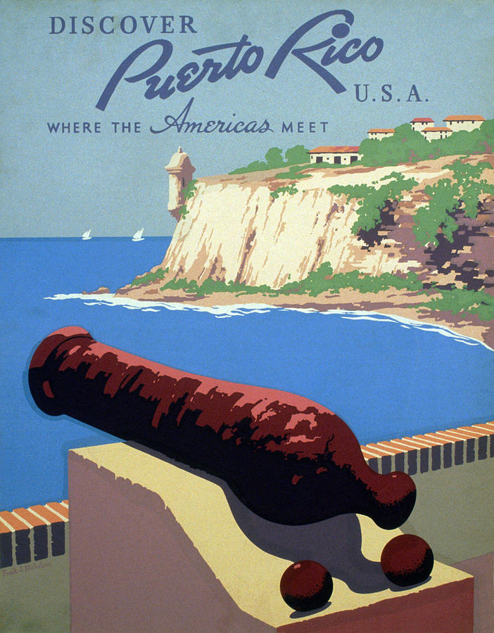 1930s Photograph - Puerto Rico. Poster Promoting Puerto by Everett