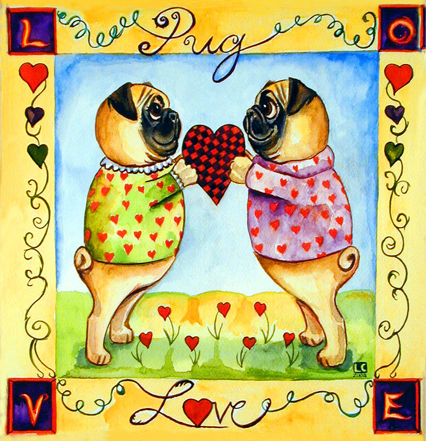 Pug Painting - Pug Love by Lyn Cook