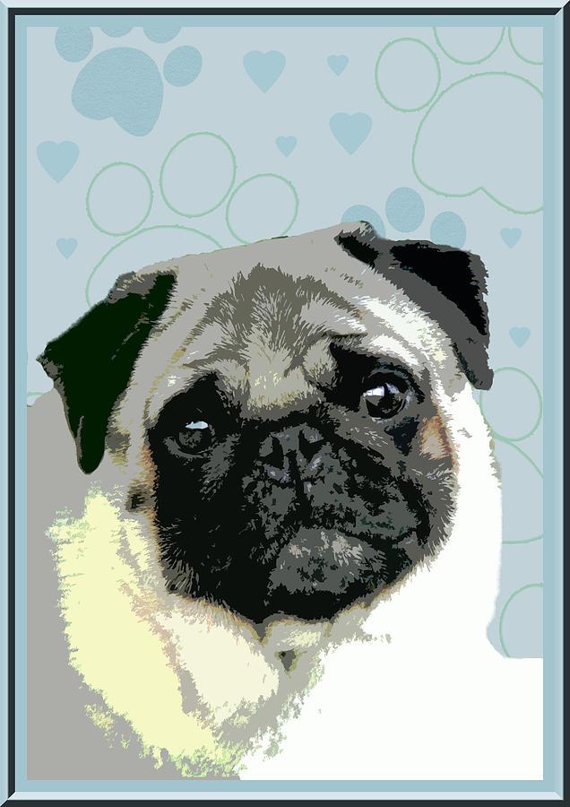 Animal Digital Art - Pug by One Rude Dawg Orcutt