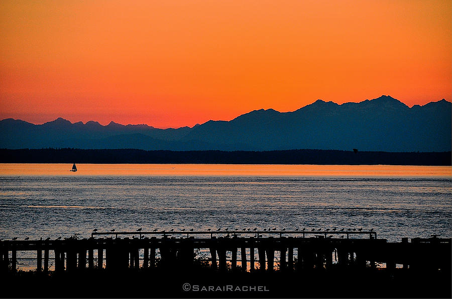 Beach Photograph - Puget Sound Sunset by Sarai Rachel