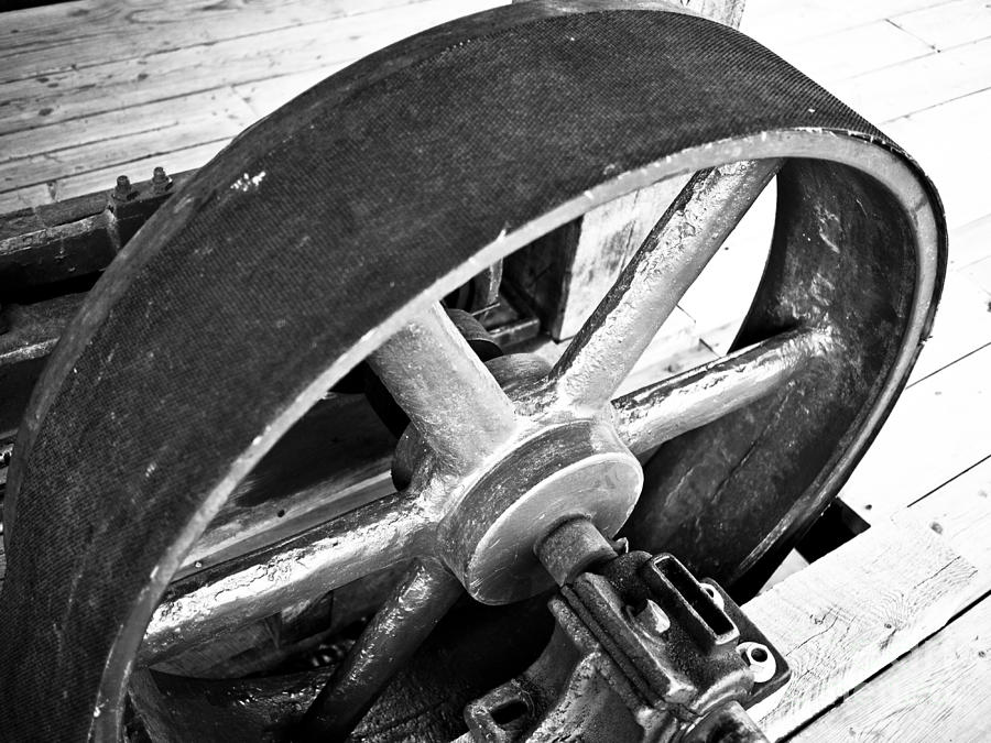 Deep River Photograph - Pulley Wheel From Industrial Sawmill by Paul Velgos