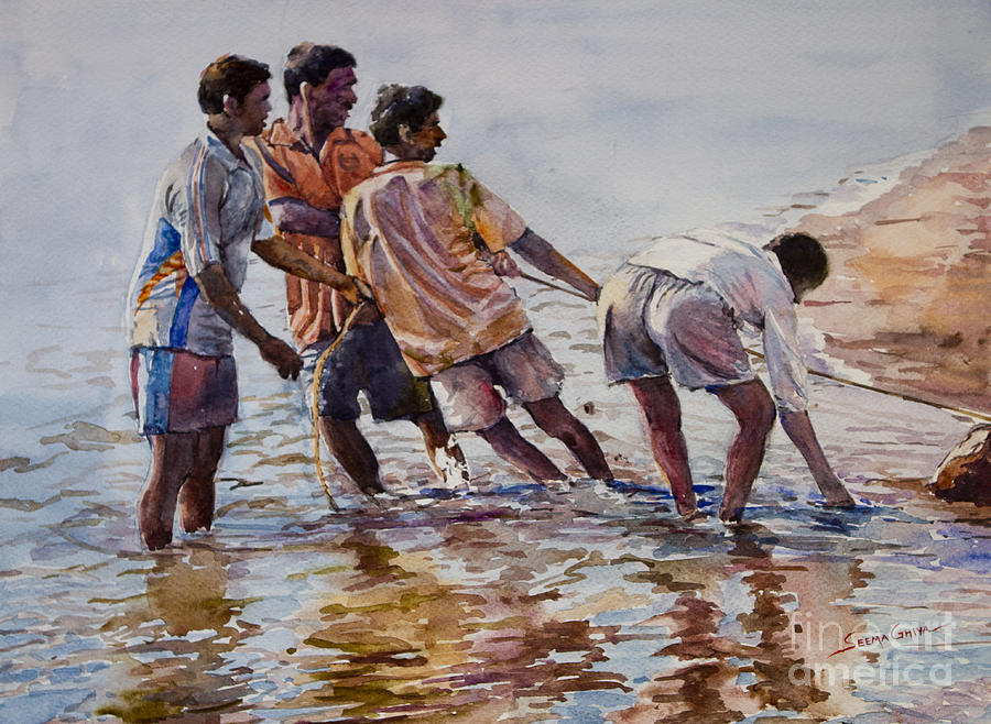 Landscape Painting - Pulling Togather by Seema Ghiya