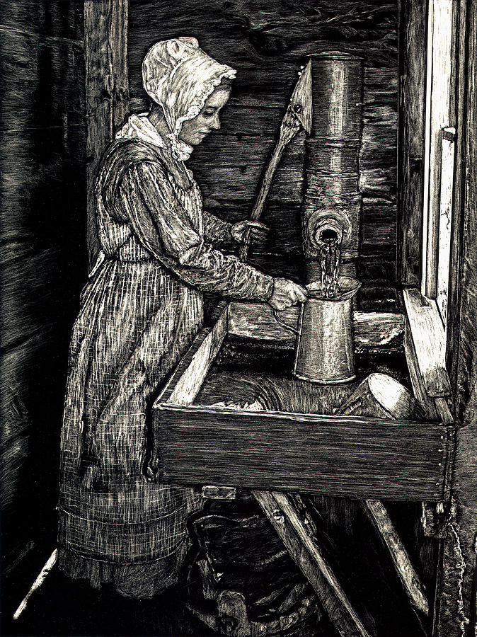 Water Pump Drawing - Pumping Water by Robert Goudreau