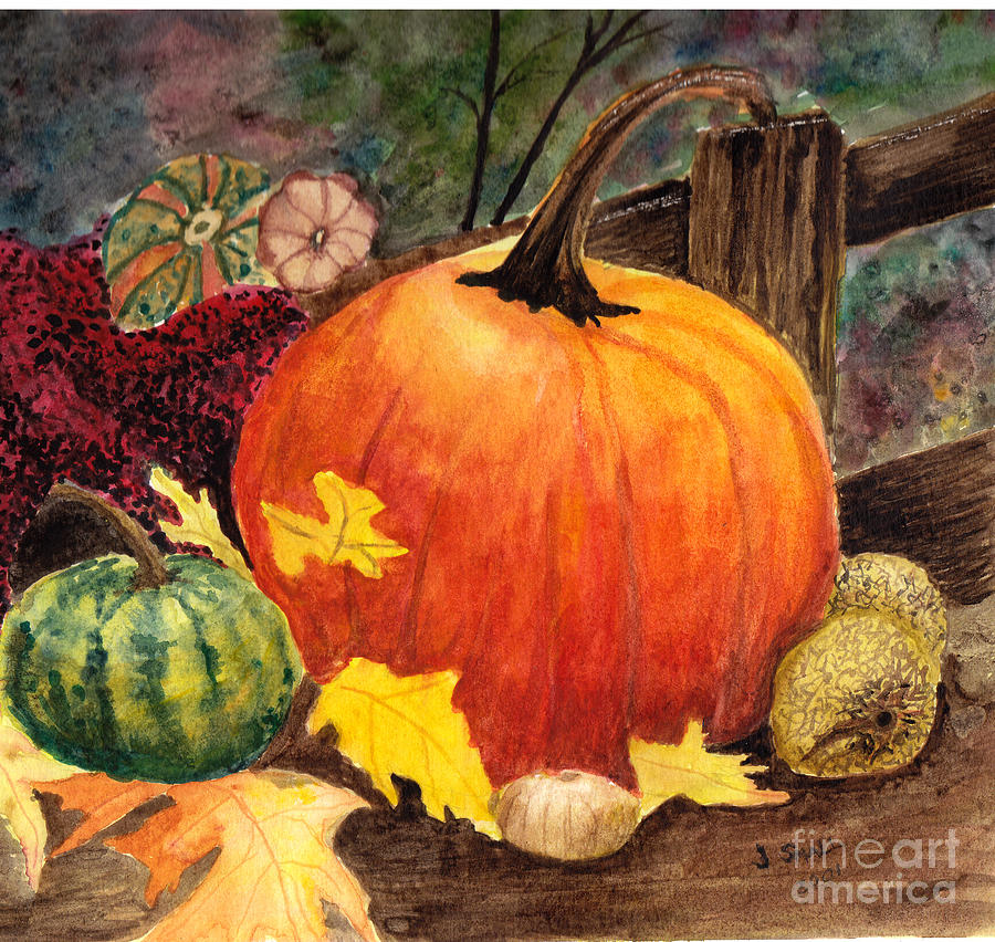 Pumpkin Painting - Pumpkin And Gourds by John Small