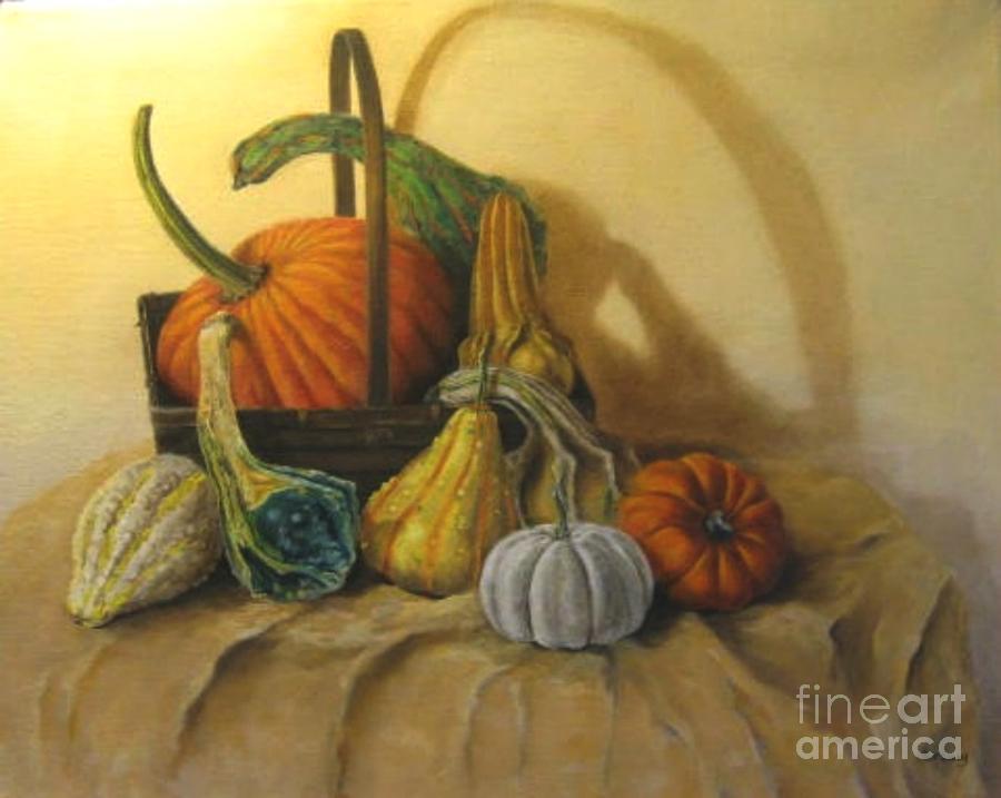 Pumpkin Painting - Pumpkin In A Basket by Patricia Lang