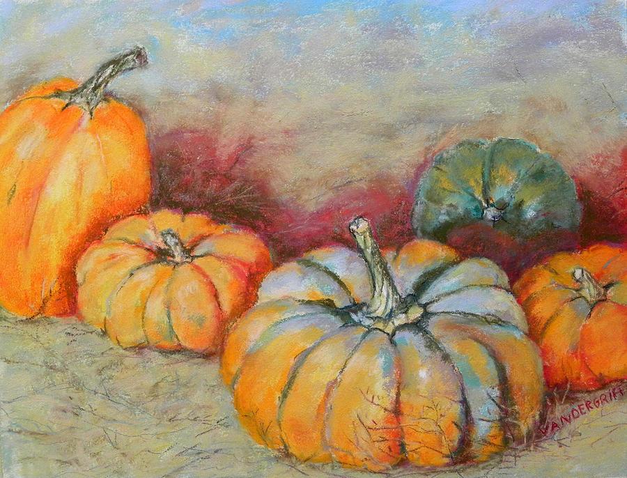 Pumpkins Painting - Pumpkins by Hilda Vandergriff