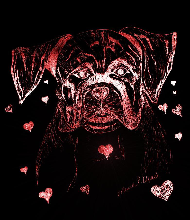 Puppy Drawing - Puppy Love by Maria Urso