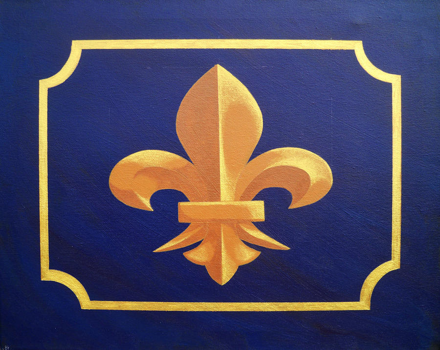 Purple and gold fleur de lis painting by hershel kysar - Fleur paint ...