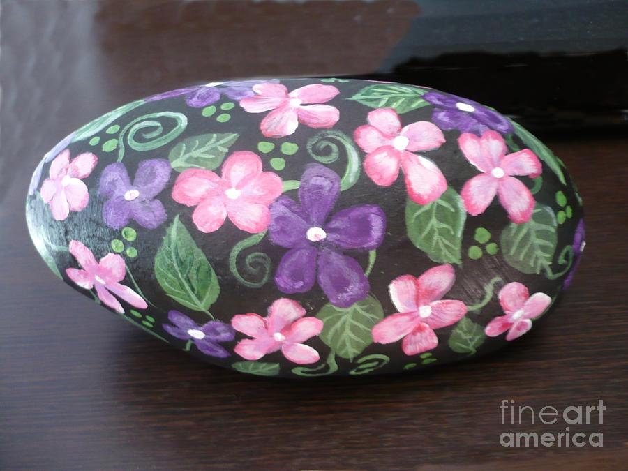 Rock Painting - Purple And Pink Flowers by Monika Shepherdson