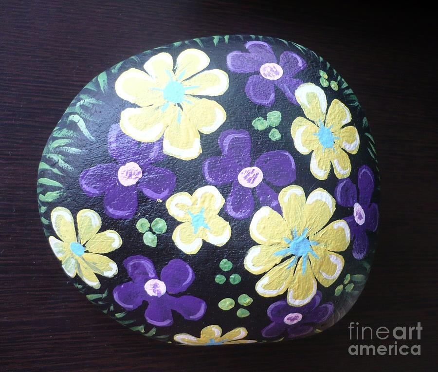 Rock Painting - Purple And Yellow Flowers by Monika Shepherdson