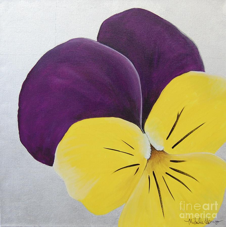 Purple and yellow pansy painting by michele harps for Purple and yellow painting