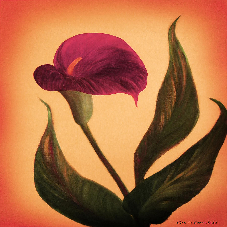 Purple Calla Lily Square Painting Painting By Gina De Gorna
