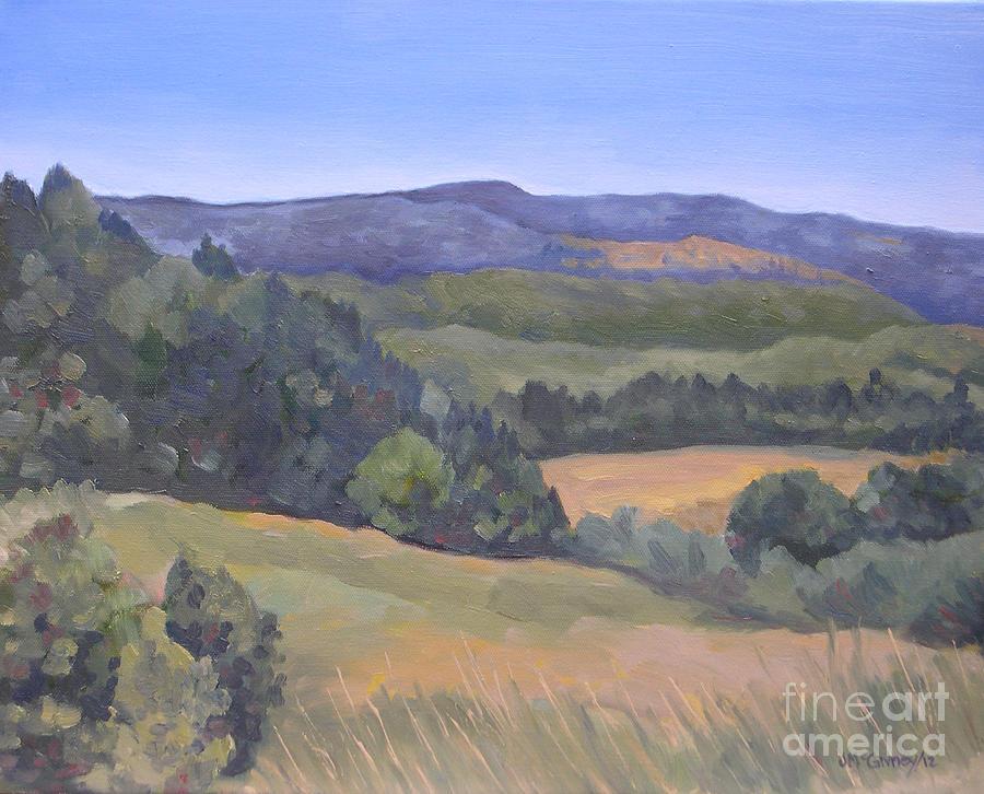 Purple Hills Painting by Joan McGivney
