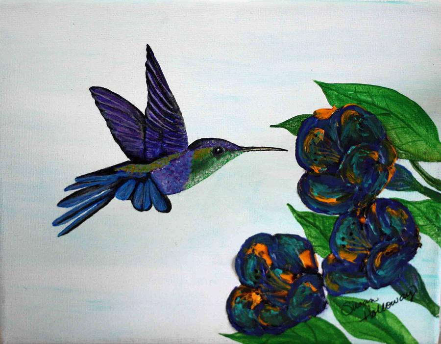 Purple Hummingbird Painting by Susan Holloway