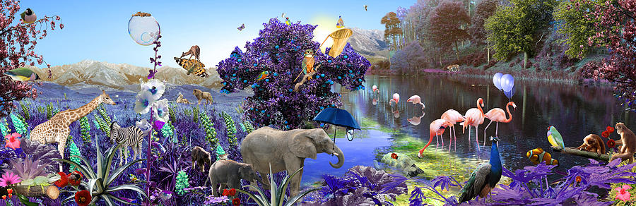 Landscape Digital Art - Purple Jungle by Emily Campbell