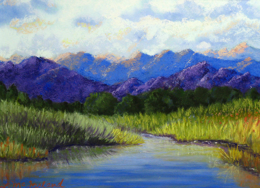 Purple Mountain Water Color Painting