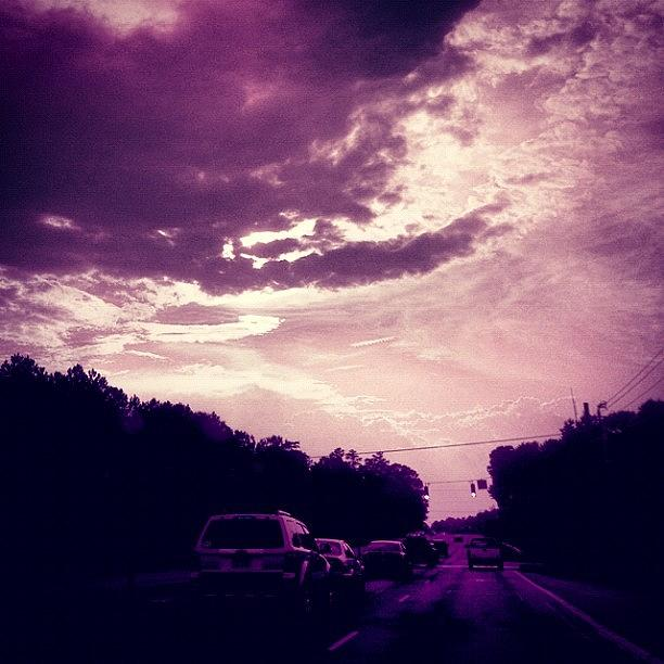 Cloudscape Photograph - #purple #sky #clouds #driving by Katie Williams