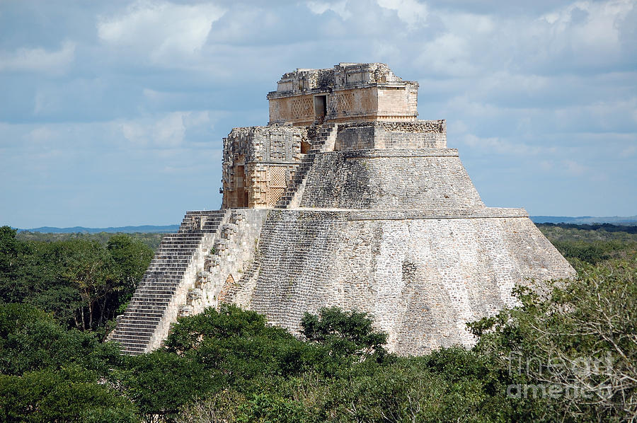 Uxmal Photograph - Pyramid Of The Magician At Uxmal Mexico by Shawn OBrien