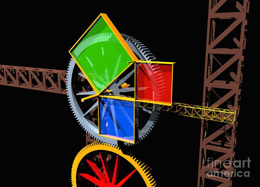 Algebra Digital Art - Pythagorean Machine Landscape 1 by Russell Kightley