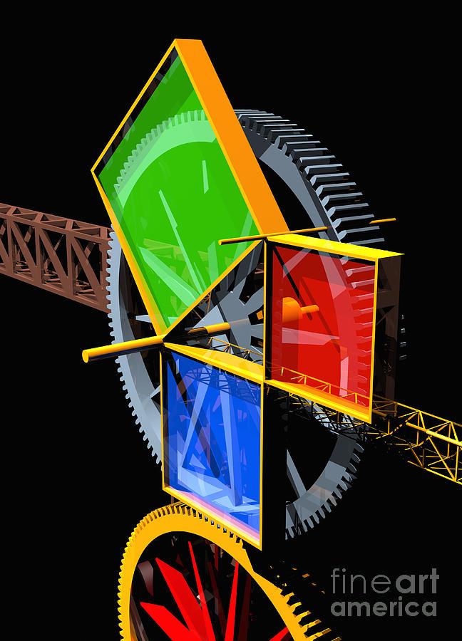 Algebra Digital Art - Pythagorean Machine Portrait 2 by Russell Kightley