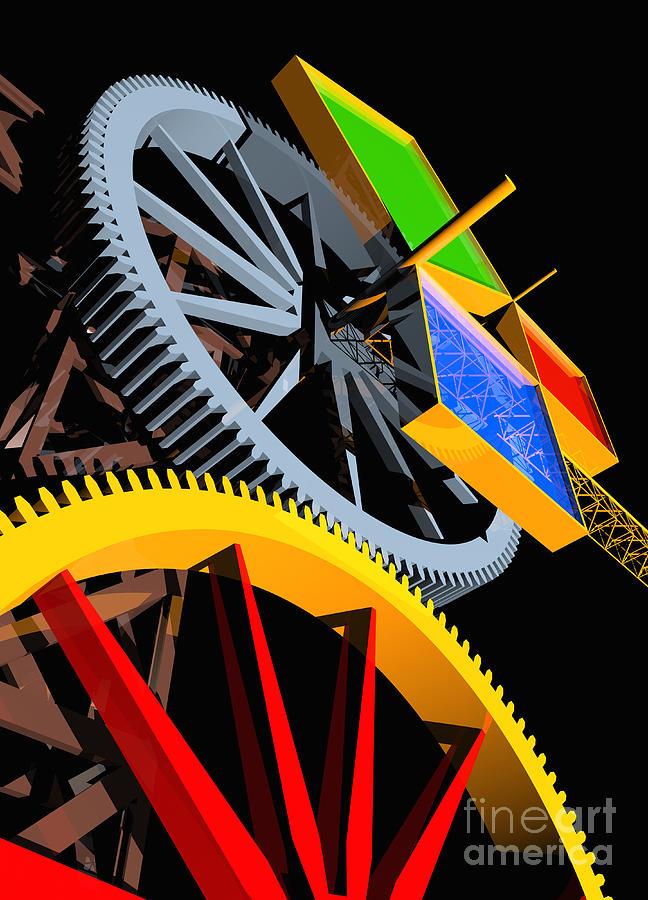 Algebra Digital Art - Pythagorean Machine Portrait 4 by Russell Kightley