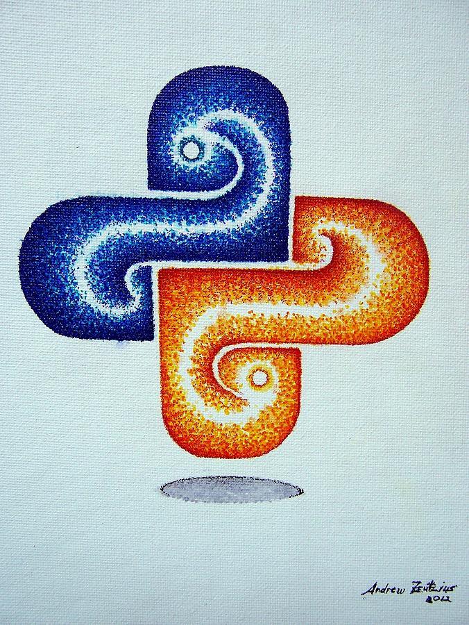 Python Painting - Python Icon by Andrew Zeutzius