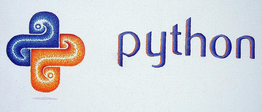 Python Painting - Python Logo by Andrew Zeutzius