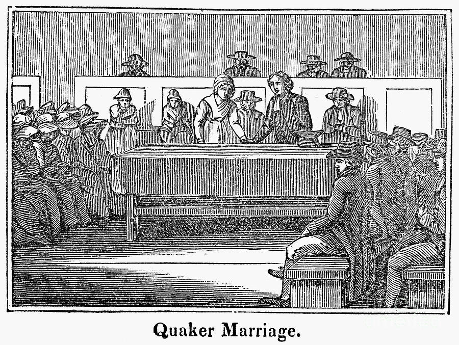 1842 Photograph - Quaker Marriage, 1842 by Granger