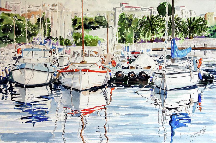 Boats Painting - Quattro Barche Al Pennello Di Bonaria by Giovanni Marco Sassu