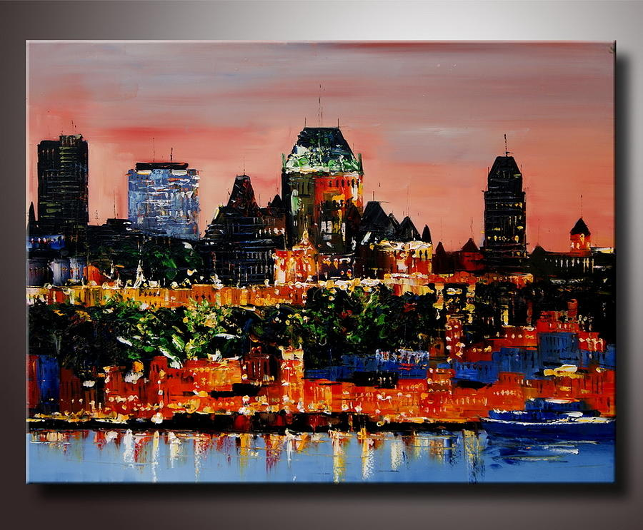 Quebec Abstract Wall Art Canadian City High Textured Knife Painting