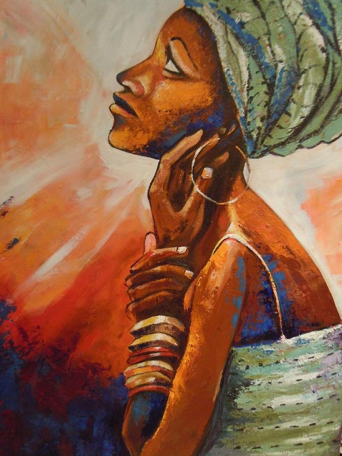 African Queen Painting - Queen by Michael Echekoba