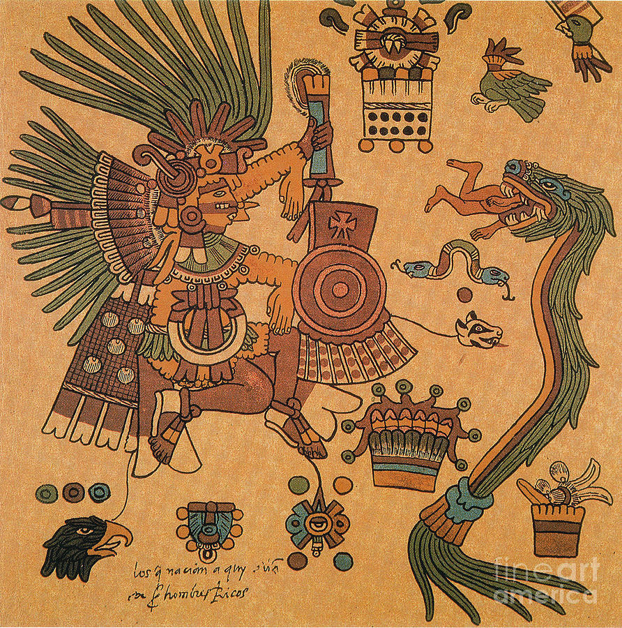 History Photograph - Quetzalcoatl, Aztec Feathered Serpent by Photo Researchers