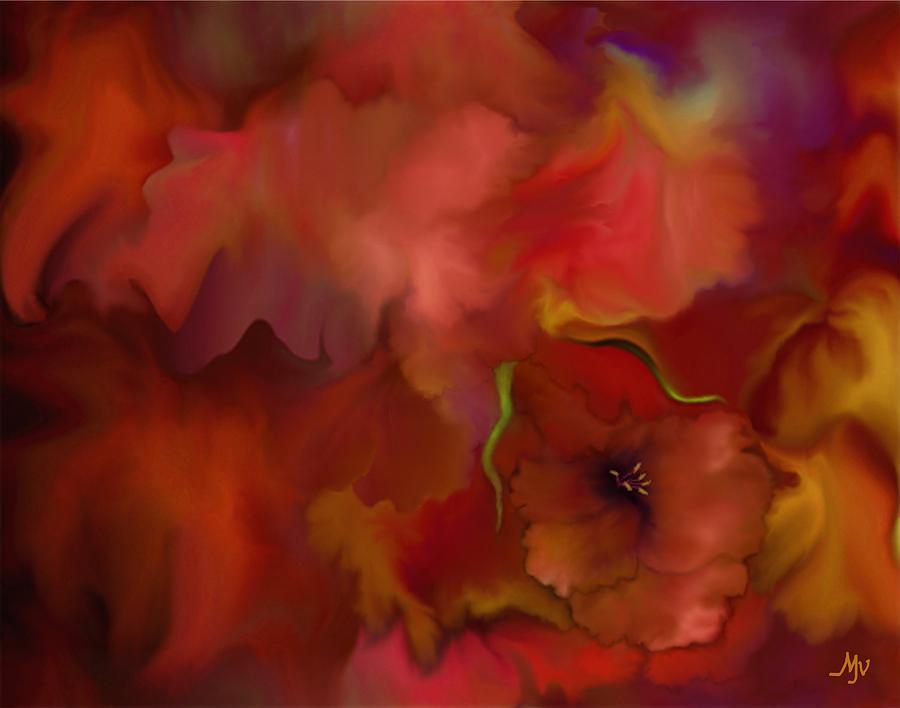 Floral Digital Art - Quiet Passion by Mathilde Vhargon