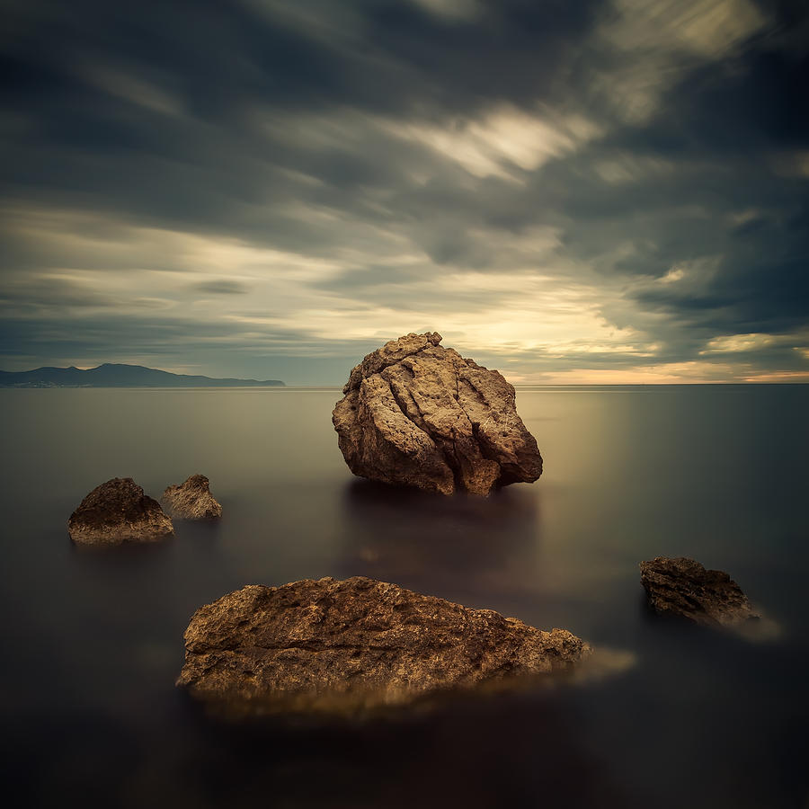 Square Photograph - Quiet Rocks by Xose Casal Photography