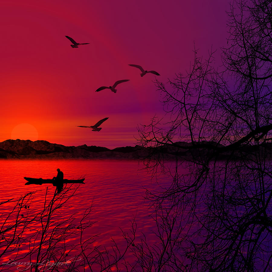 Purple Sunset Photograph - Quietude by Lourry Legarde