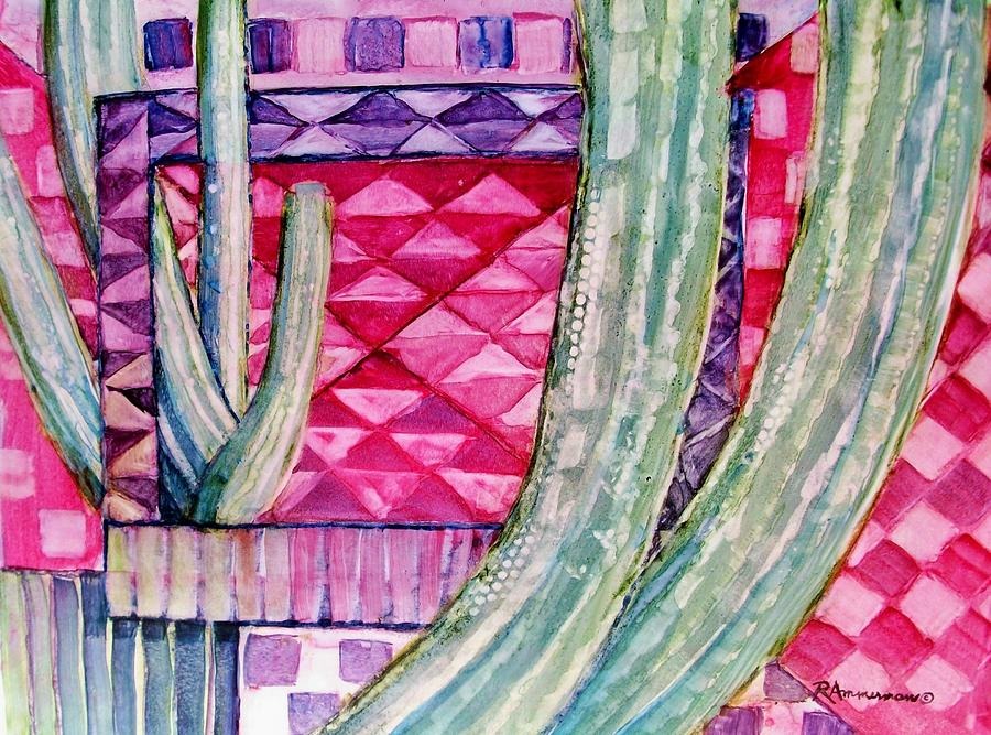 Saguaro Cactus Painting - Quilted Sunset by Regina Ammerman