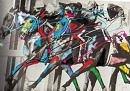 Race Horses 1 Mixed Media by Walter Hernandez