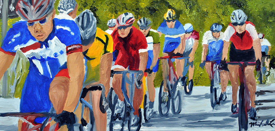 Cycling Painting - Race Warm Up by Michael Lee