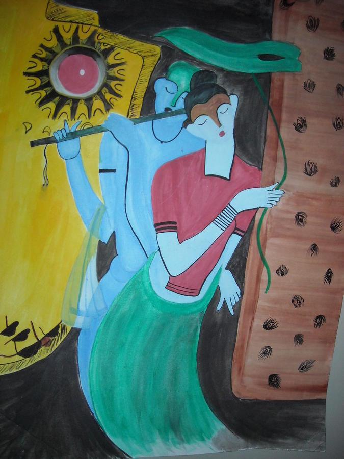 Radha Krishna Painting - Radha Krishna Modern Art by Vartika