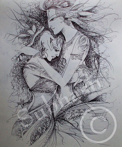 Krishna radha drawing radha krishna by subhash sharma