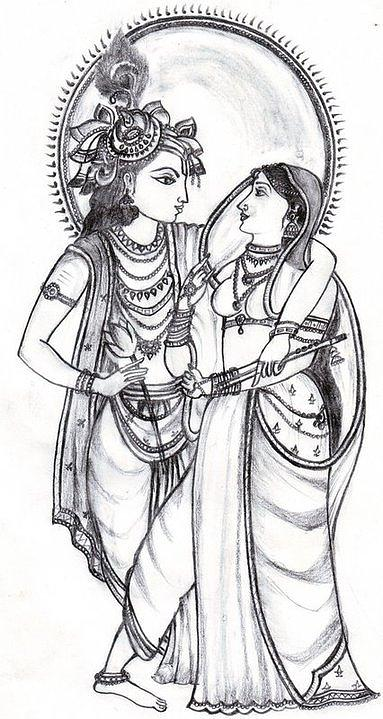 Radha Krishna Easy Sketch