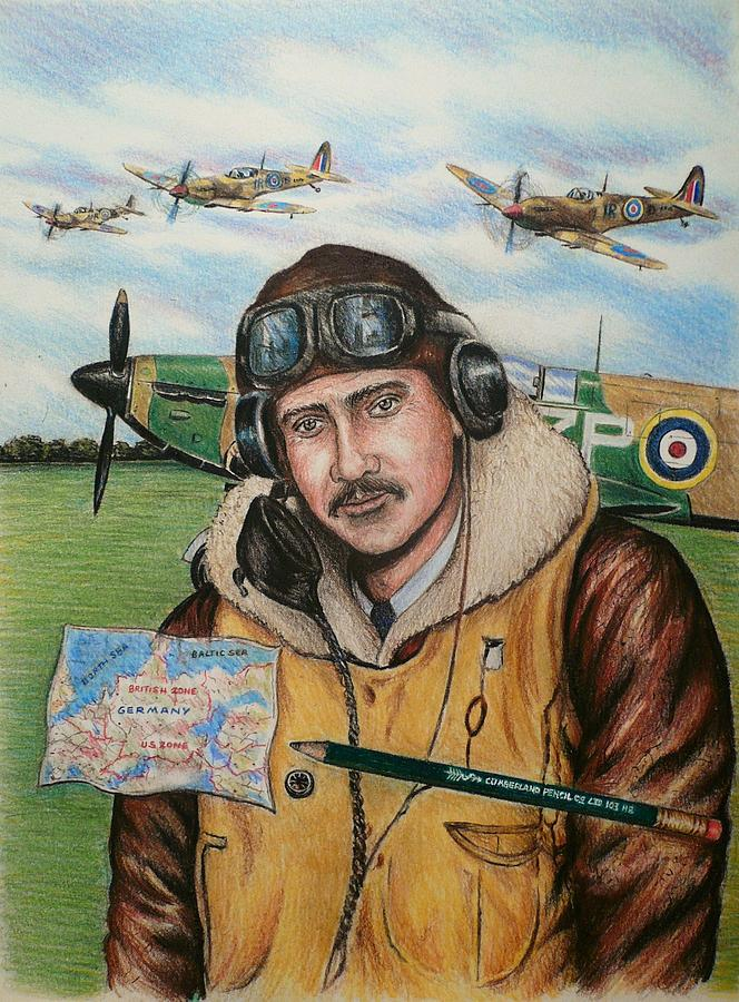 Raf Wartime Pilot And Pencil Painting By Andrew Read