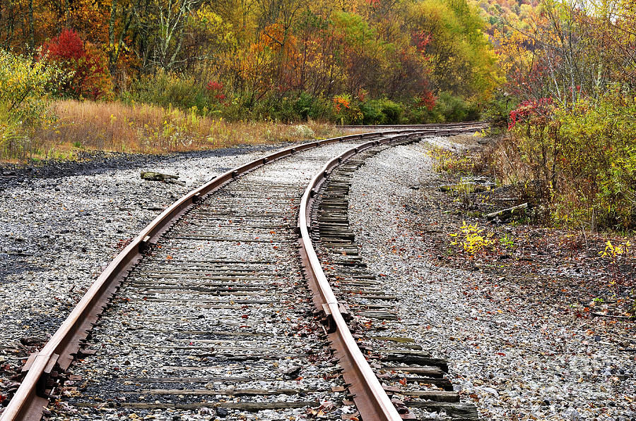 Train Yard Photograph - Railroad Fall Color by Thomas R Fletcher